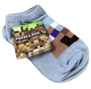 Minecraft No Show Socks 5 Pairs Kids Sizes 4.5-8.5 Creeper Villager Rotten Flesh