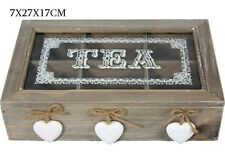 Wooden vintage style Tea Box Storage Home Kitchen Decor 6 Compartments