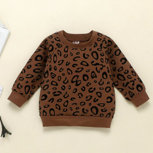 Infant Kid Baby Girls Boy Leopard Print T-Shirt Sweater Coat Tops Pants Outfit F