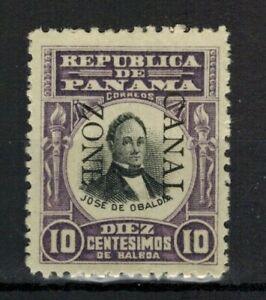 Canal Zone Stamp - Sc#CZ26 – 1906 10c violet/black, Obaldia, overprint down MH