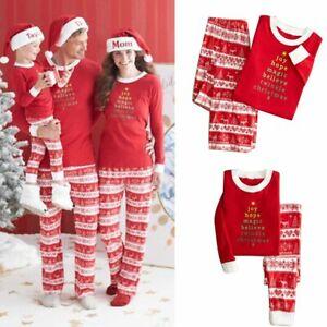 Christmas-Family-Matching-Pajamas-Set-Deer-Adult-Women-Kids-Sleepwear-Nightwear