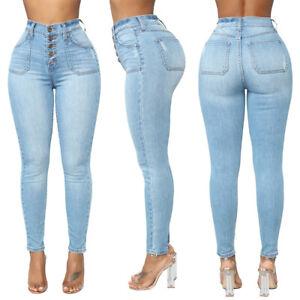 Women-Denim-Blue-Skinny-Leggings-Pants-High-Waist-Stretch-Jeans-Pencil-Trousers