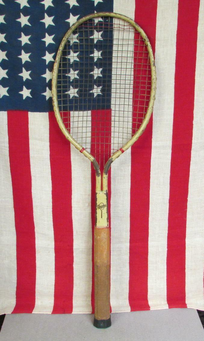 Vintage 1920s Dayton Steel Tennis Racquet Cadet Model Wood Handle Great Display