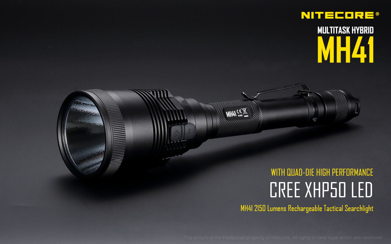 NiteCore MH41 2150 Lumen MULTI HYBRID 541 Yard Throw Rechargeable LED Flashlight