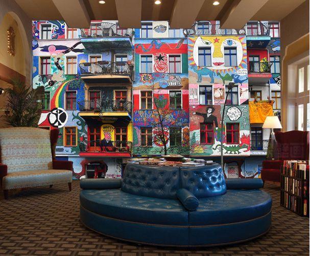 3D Haus mit Graffiti 102 Fototapeten Wandbild Fototapete BildTapete Familie DE