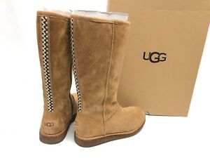 24acda75060 Details about UGG Rue Knee High Suede Zipper Boots 1012546 Chestnut Women's  Suede Shearling