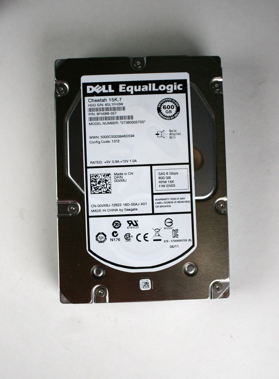 "Dell EqualLogic 600GB 15k 3.5/"" SAS HDD Seagate ST600057SS 9FN066-057 0VX8J tray"