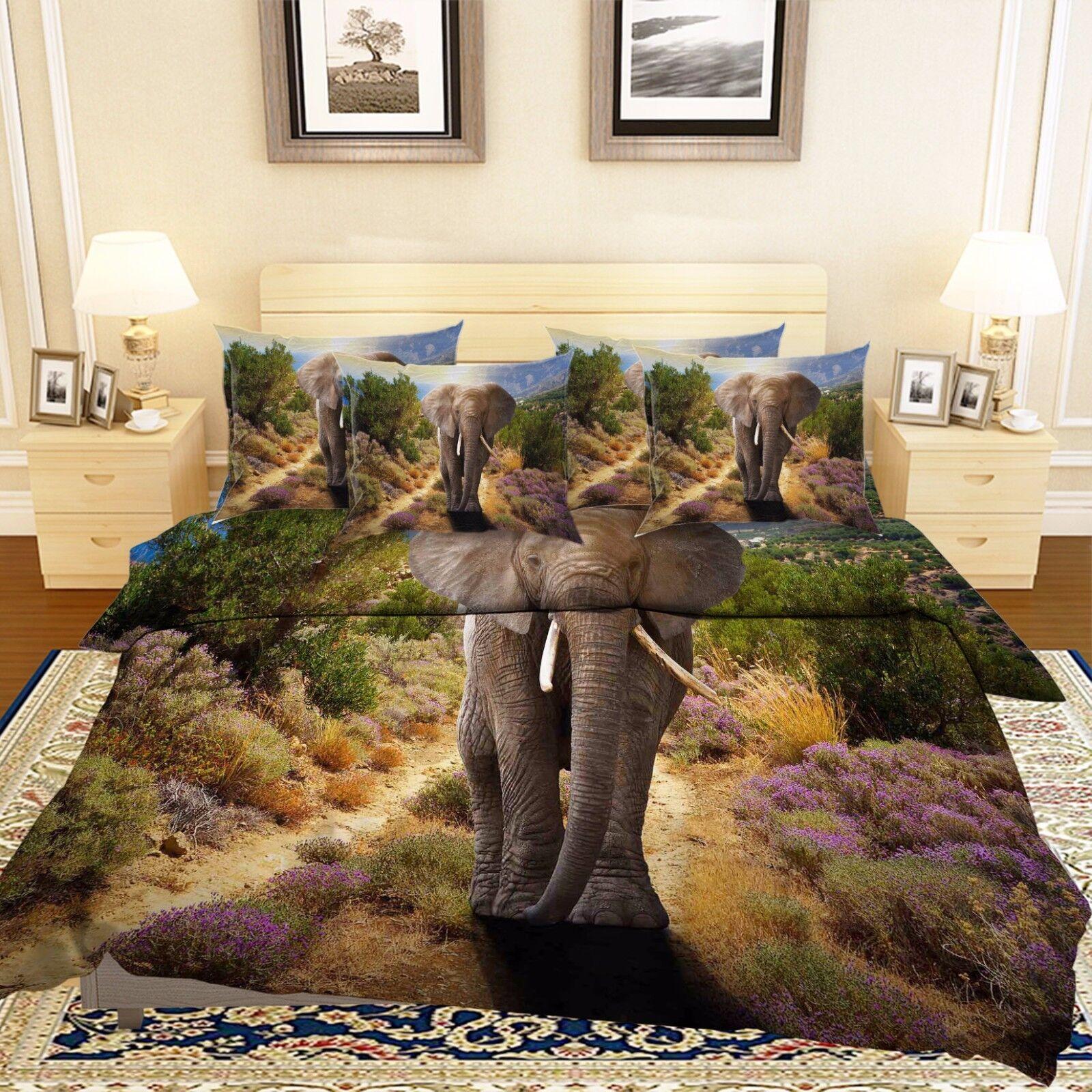 3D Garden Elephant 7 Bed Pillowcases Quilt Duvet Cover Set Single Queen AU Lemon