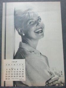 Calendario Del 1961.Junio Julio De 1961 Pagina De Calendario 2 Lados Doris Day