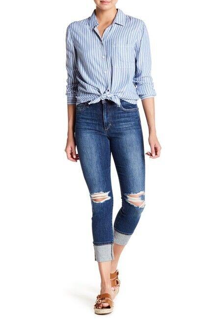 Joe's Jeans Womens SZ 30 Regina High Rise Cropped Cuffed Denim Jeans Distressed
