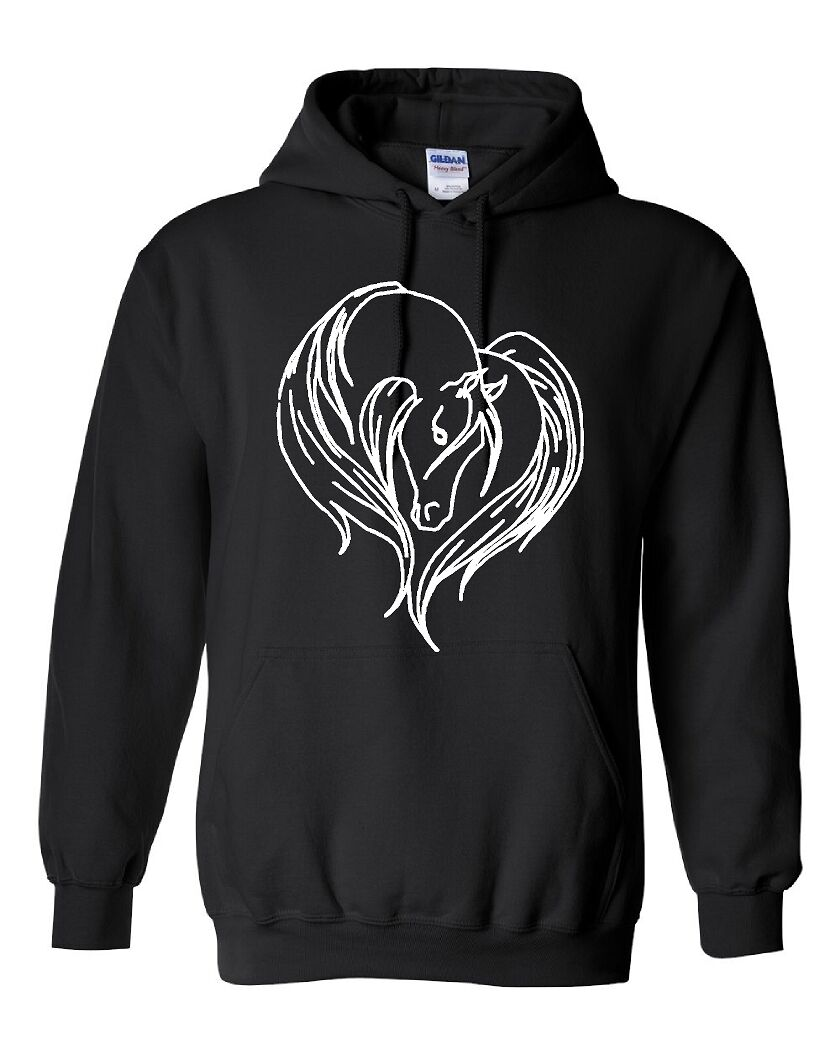 HORSE HEART SHAPE Hoodie Ladies Girls Hooded Sweatshirt Arabian Line Art