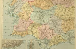 Map Of South West Spain.Details About 1891 Antique Map Spain Portugal South West Lisbon Seville Algarve