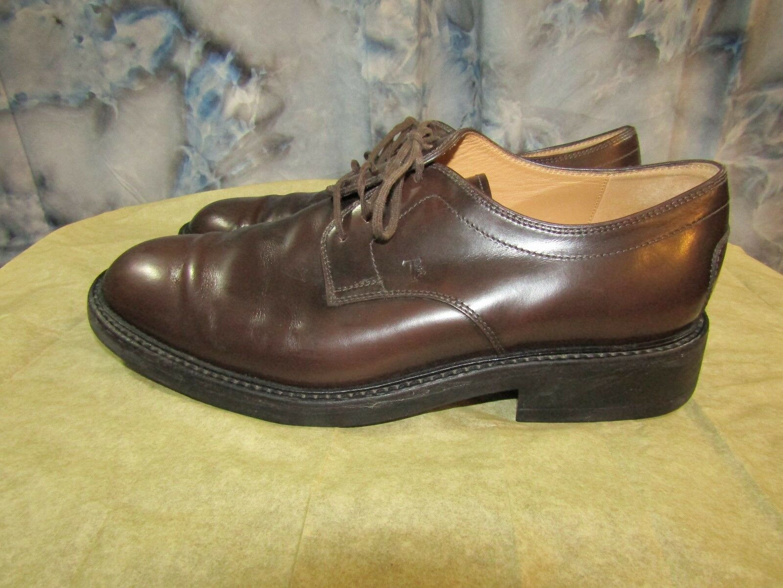 TOD'S Mens - Brown Leather Oxford Shoes - Mens Size 8 EUC 85d253