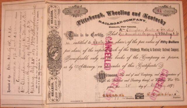 1887 Stock Certificate: Pittsburgh, Wheeling & Kentucky Railroad - West Virginia