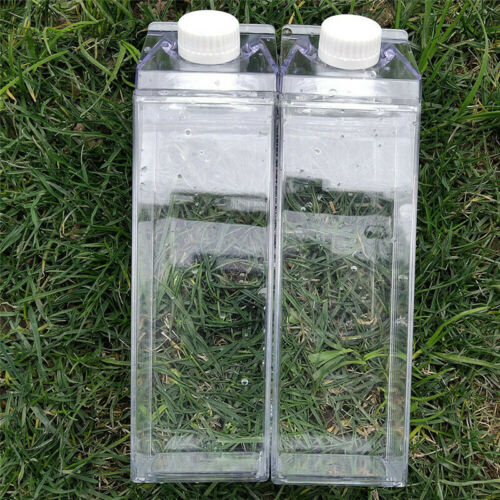 1//2pcs 500ml//17oz Milk Carton Water Bottle Acrylic Clear Transparent Twist Cap