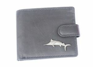 Marlin-Game-Fish-Mens-Leather-Wallet-BLACK-or-Brown-Fishing-Gift-228