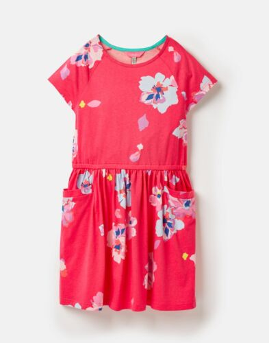Joules  210520 Jersey Waisted Dress PINK YIP FLORAL