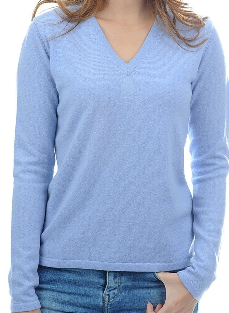 Balldiri 100% Cashmere Damen Pullover 2-fädig V-Ausschnitt himmelblau S
