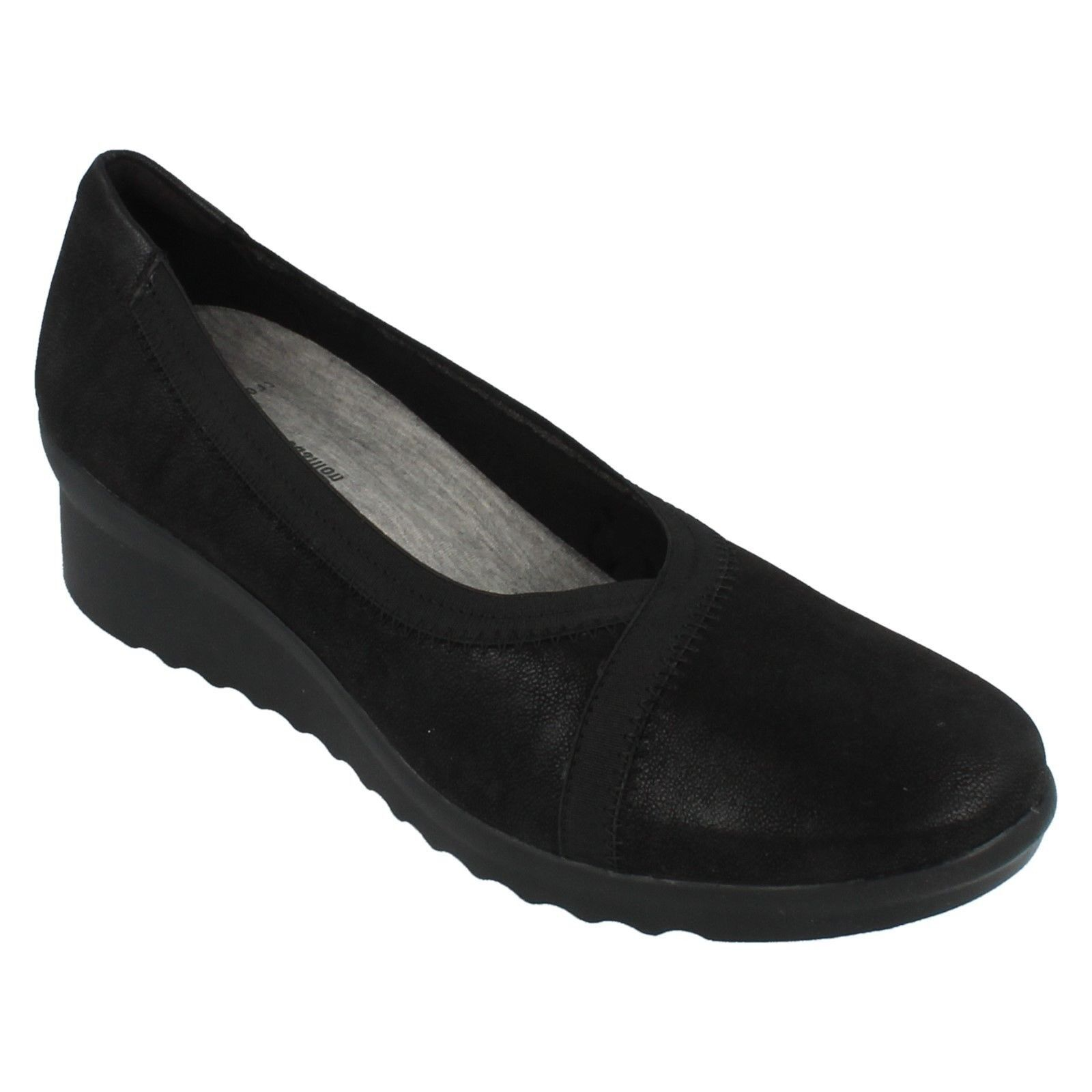 LADIES CLARKS CLARKS LADIES BLACK SLIP ON CLOUSTEPPERS SOFT WEDGE Schuhe SIZE CADDELL DASH a92db3