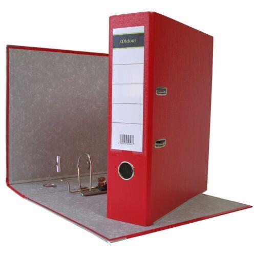 2 x Ordner A4 8 cm PP Kunststoff Rot Aktenordner Briefordner Breit 80 mm
