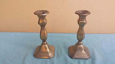 Coppia Di Antichi Portacandele Candelieri Art Deco' In Silver Marcati