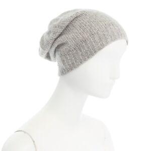 c79d813495b93 VISVIM 100% cashmere light grey logo patch ribbed knitted beanie hat ...