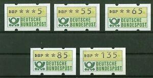 Bund-ATM-1-1-hu-VS-4-postfrisch-5-55-65-85-135-Pfennig-BRD-Automatenmarken-MNH