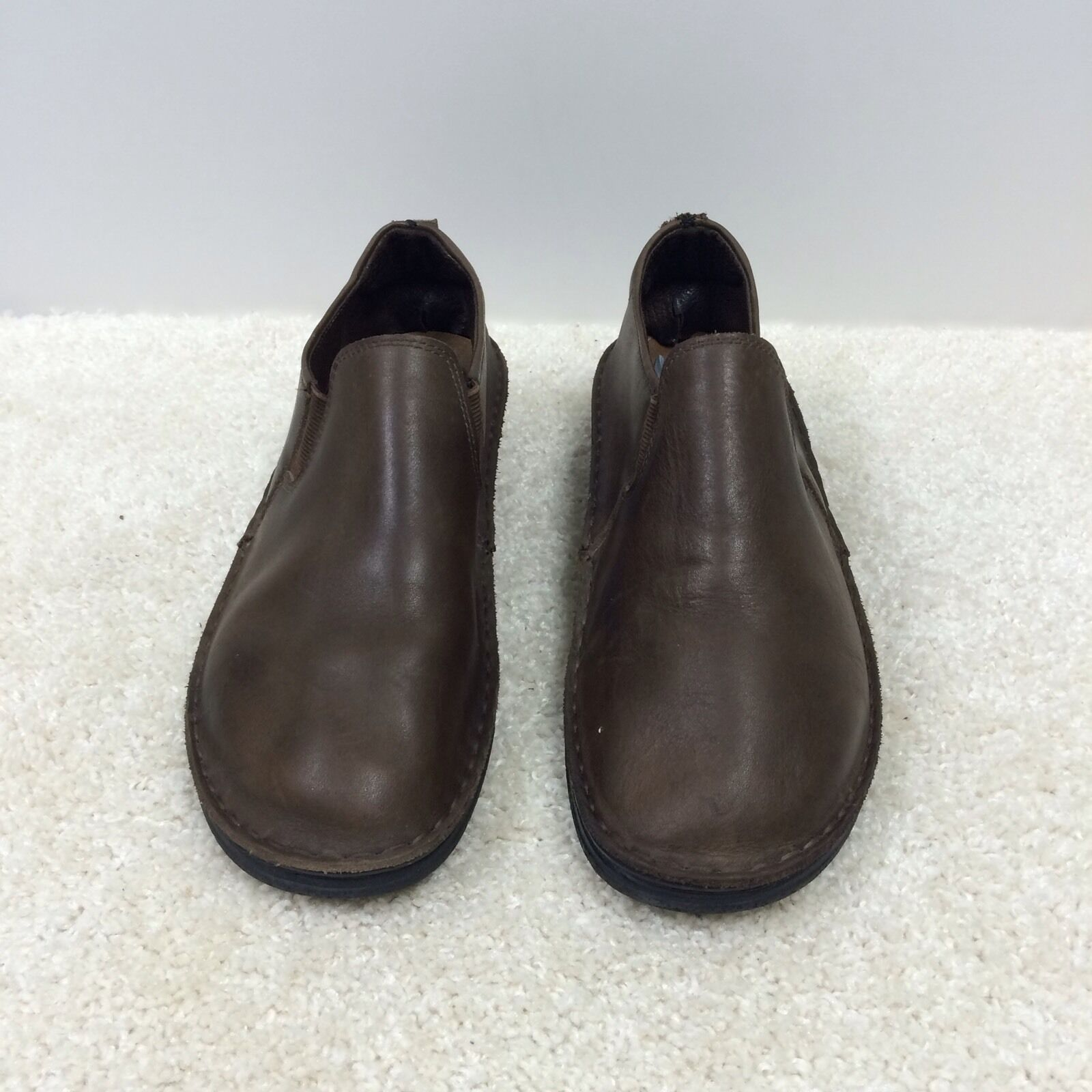 MENS NAOT SZ 41 L 10 M 8 BROWN SHOES LOAFERS SLIP ON ELASTIC LEATHER MADE ISRAEL