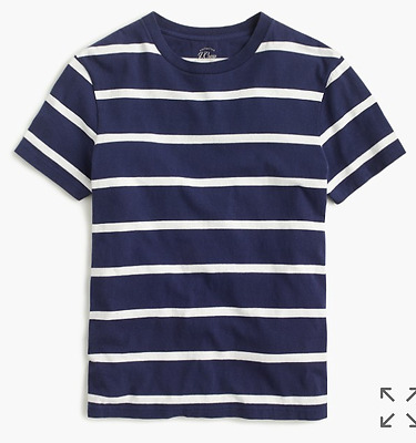 NEW NWT mens j.crew knit goods cotton t-shirt in nautical white stripe G5019
