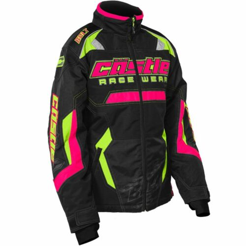 72-484/_ Castle X™ Youth Girl/'s Bolt Insulated Snowmobile Jacket Pink//Hi-Vis