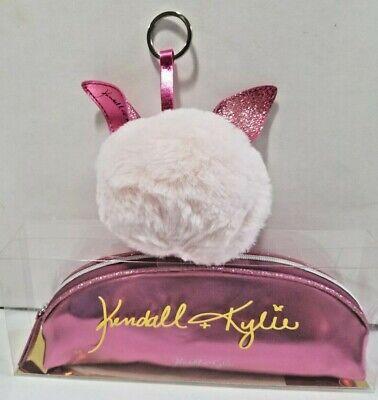 Kendall Kylie Jenner Kylie Pink Faux Fur Pom Pom Keychain  with ears