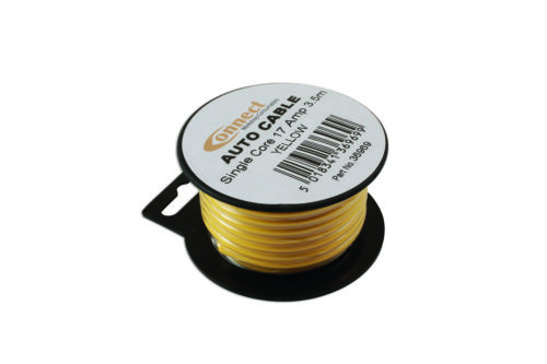 Genuine CONNECT 36969 Mini Reel Automotive Cable 17 Amp Yellow 3.5m