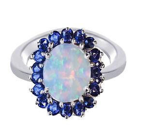 Plumeria-Flower-White-Fire-Opal-Oval-Blue-Sapphire-CZ-Sterling-Silver-Ring