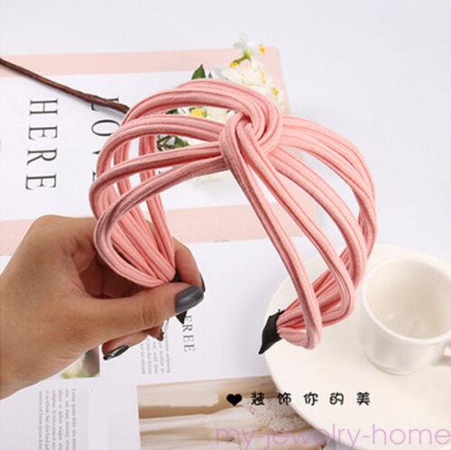 Women Headband Twist Hairband Bow Knot Cross Tie Wide Headwear Hair Band Hoop