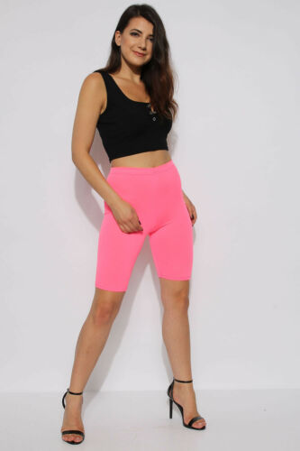 WOMENS CYCLING SHORTS LADIES STRETCH NEON FASHION RUNNING YOGA DANCE GYM SHORTS