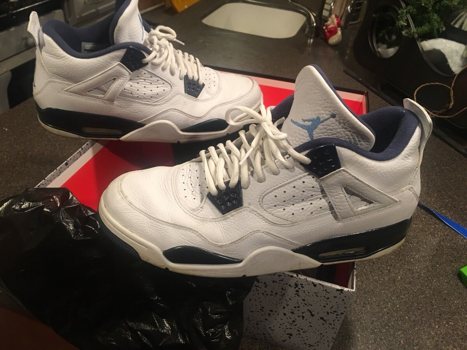 Air Jordan 4 Retro Legend bluee bluee bluee Navy White Columbia Size 13 393213