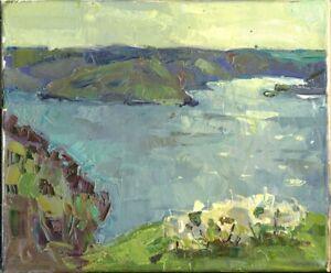 Russischer-Realist-Expressionist-Ol-Leinwand-034-Fluss-034-35-x-30-cm