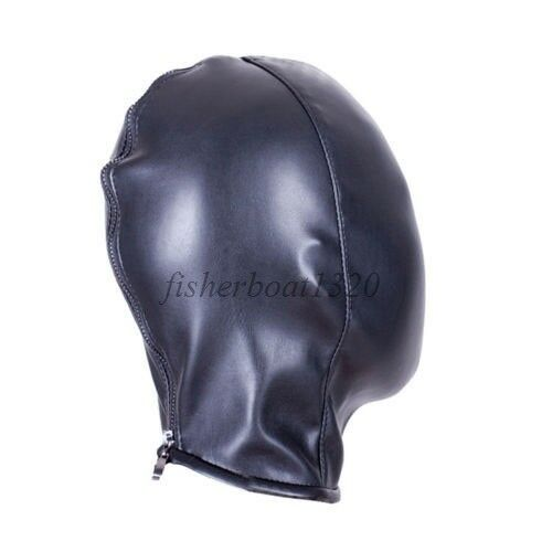 PU Leather Full Head Mask Body Harness Hood Breathable Slave Fantasy Sissy Maid