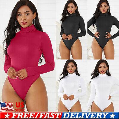 US Stock Women Long Sleeve Bandage Bodysuit Leotard Tops Blouse Jumpsuit Rompers