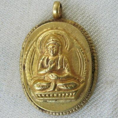BUDDHA EYES BRASS REVERSIBLE TIBETAN ARTISAN PENDANT BUDDHIST NEPAL HANDCRAFTED