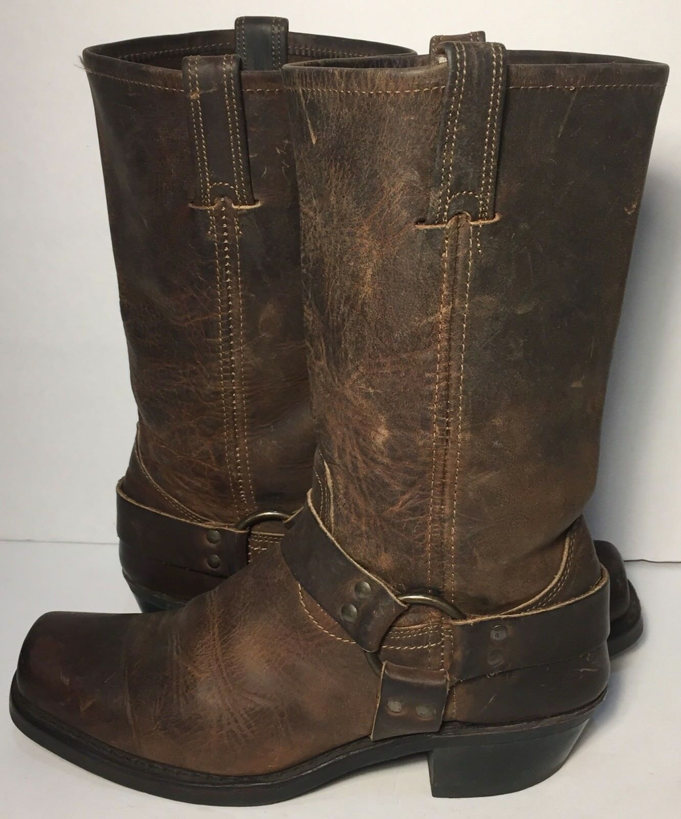 FRYE 77300 Brown Leather Harness Size Motorcycle Biking Riding Boot 12r Women Size Harness 10 d537bc