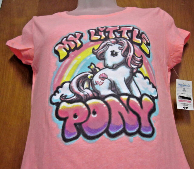 MY LITTLE PONY juniors T shirt cartoon Birth Flower pegasus faux airbrush tee NW