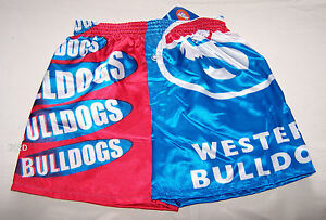 Western-Bulldogs-AFL-Boys-Blue-Red-Satin-Boxer-Shorts-Size-10-New