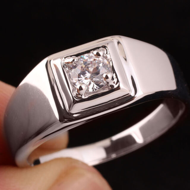 Pure Band 925 Sterling Silver Ring for Men Solitary 5.5mm Clear CZ Size 13