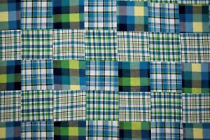 Patchwork-Quilting-Yarn-Dyed-Cotton-Plaid-Blue-Hand-Serged-Fabric-56-034-W-Apparel