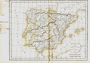 Carte De L'espagne Et Du Portugal -1836, 38 X 49 Cm. Delamarche Gkxpj0cx-08003205-744460005