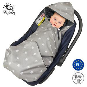 Einschlagdecke-fuer-Babyschale-Maxi-Cosi-Kinderwagen-Decke-Babydecke-Fusssack-grau