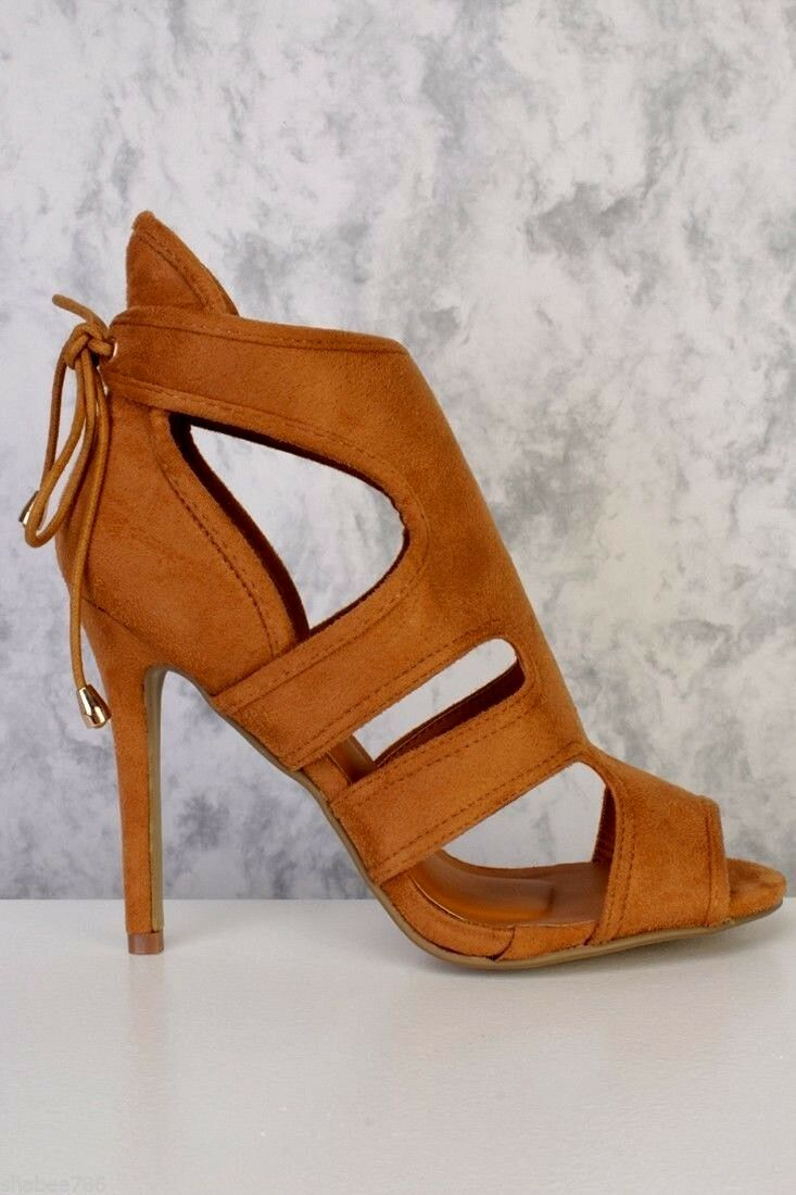 New Tan Camel Peeped Toe Side Cutout Faux Suede High Heels Stilettos Booties
