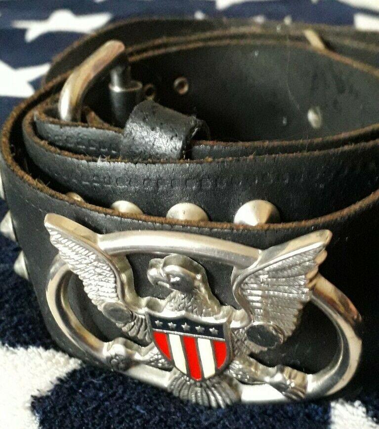 Vtg biker western 100% quality leather dome studded eagle long belt 41