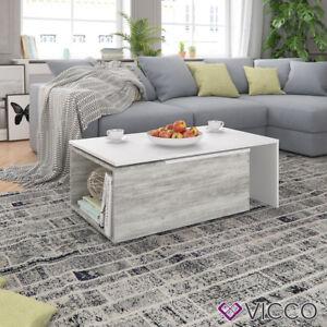 Vicco Couchtisch Leo 60x100cm Beton OPTIK weiß Wohnzimmertisch Beistelltisch